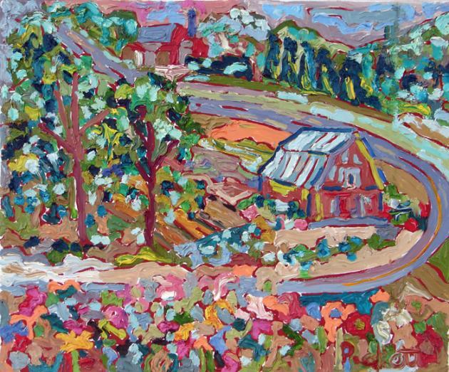 Barn in Landscape, acrylic, 24x30