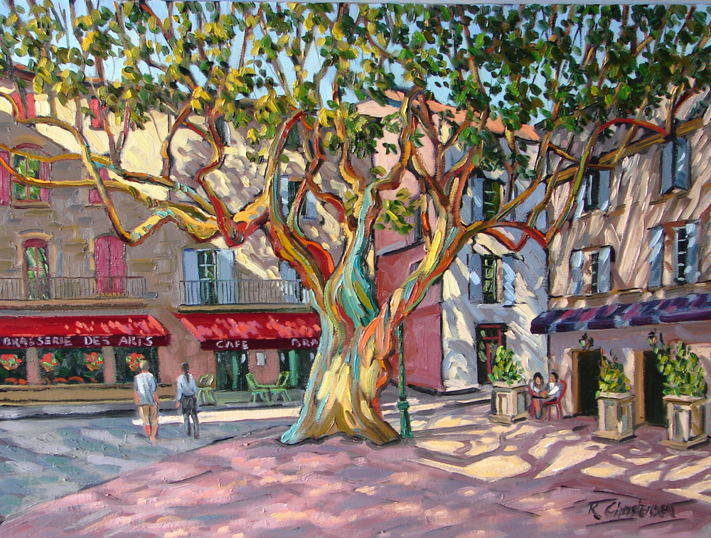Provençal Plaza, Oil, 30 x 40