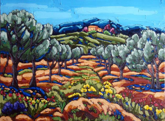 Olive Trees in Provence, Oil on Canvas, 18x24