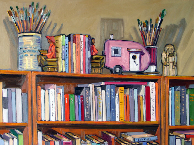 Books and Birdhouse, oil, 30x40