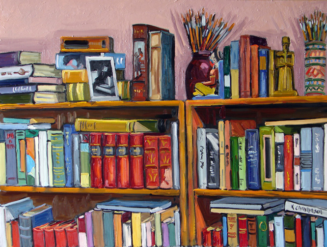 My Bookshelves, oil, 30x40