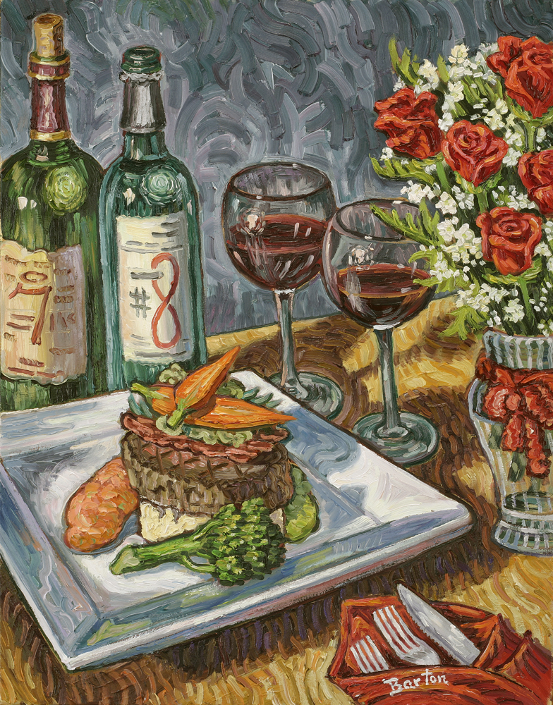 Still Life with Wine, oil