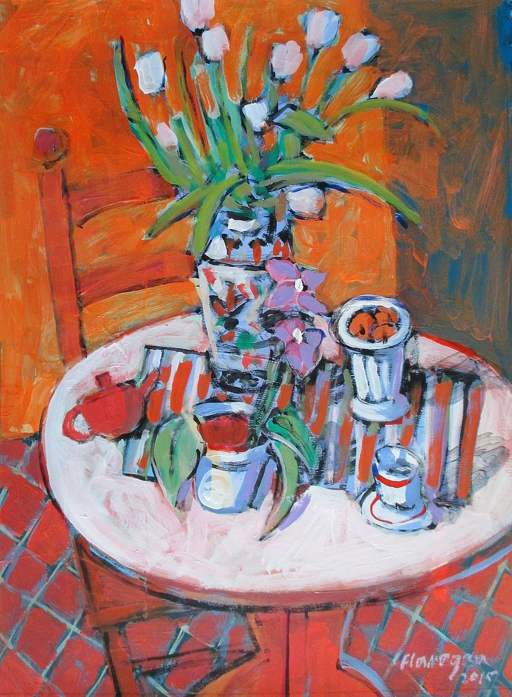 "ORANGE STILL LIFE  Acrylic/Canvas  28"" x 22"""