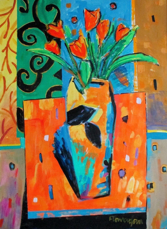 """A LA FRANCAIS Acrylic/Canvas  24"""" x 18"""""""