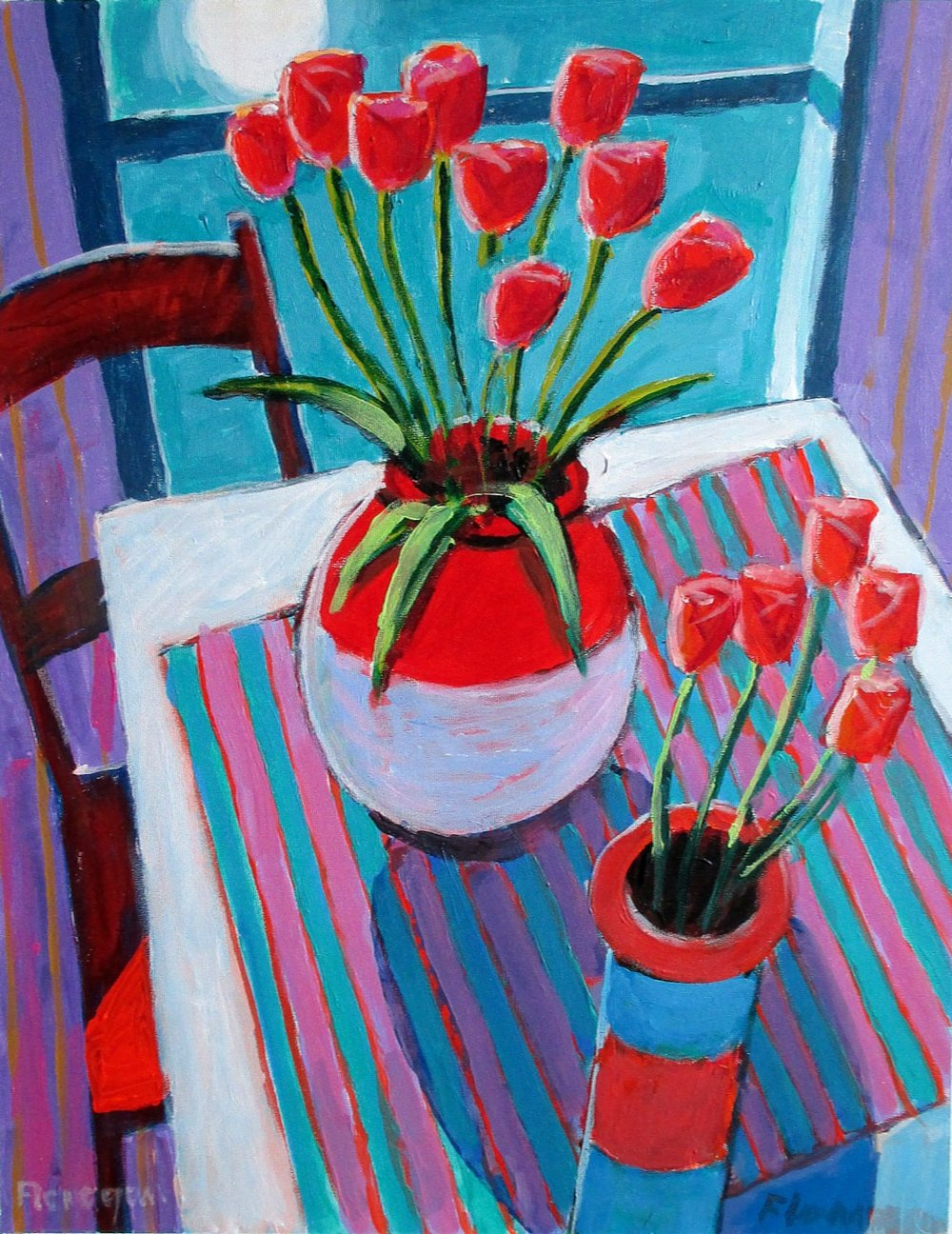 "TULIPS AT MIDNIGHT  Acrylic'Panel  20"" x 16"""
