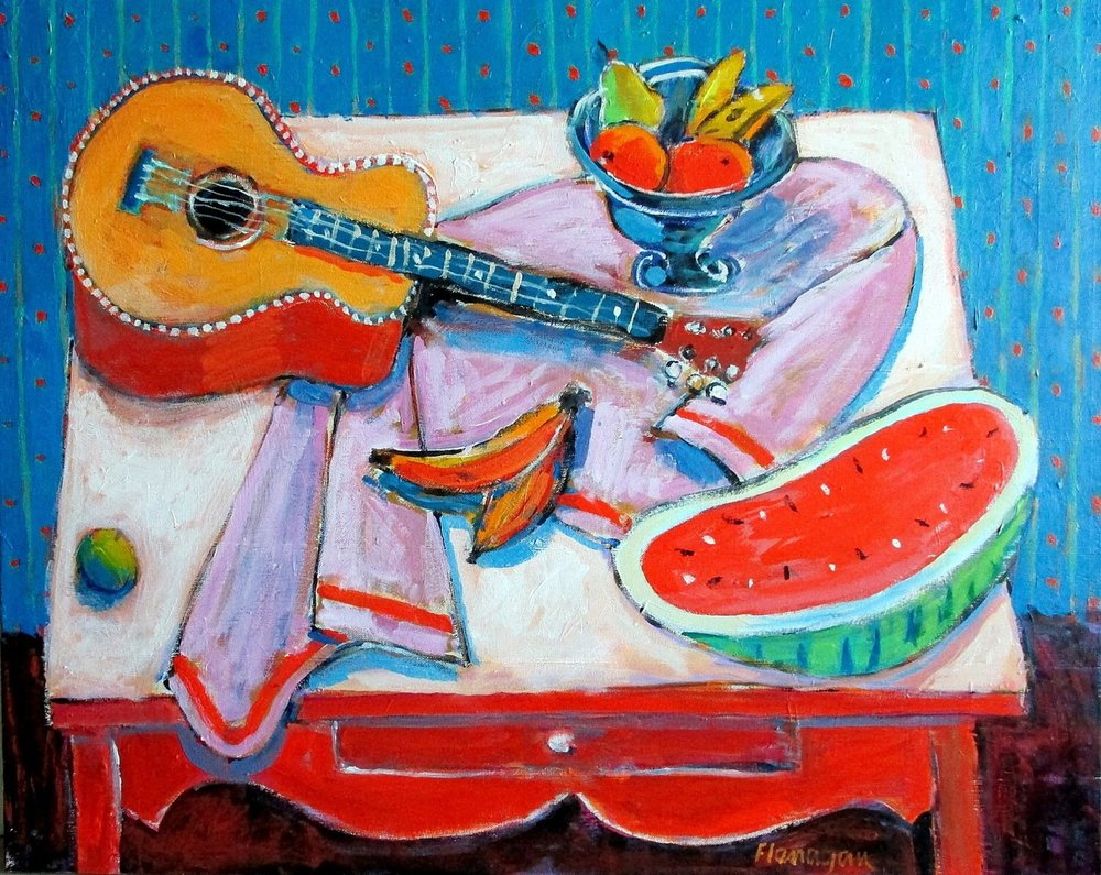 "GUITAR & WATERMELON  Acrylic/Canvas  30"" x 24"""