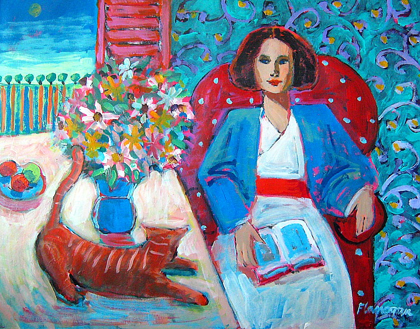 "WOMAN & CAT  Acrylic/Canvas  30"" x 24"""