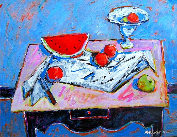 "STILL LIFE WITH WATERMELON  Acrylic/ Canvas  30"" x 24"""