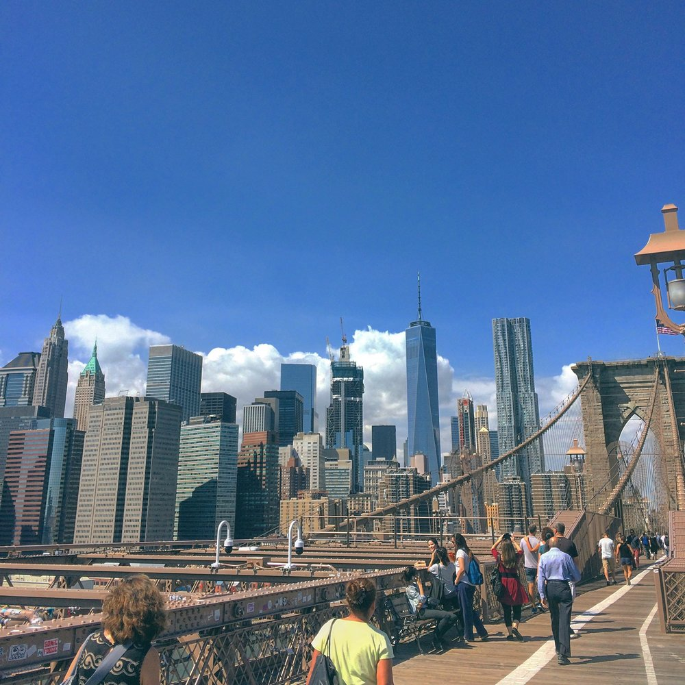 Brooklyn bridge walking back into Manhattan
