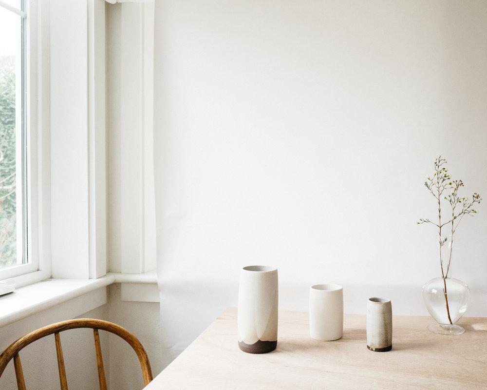 cylinder vase (sm, md, lg)- matte grey on brown clay, matte white on white clay, satin grey on brown clay