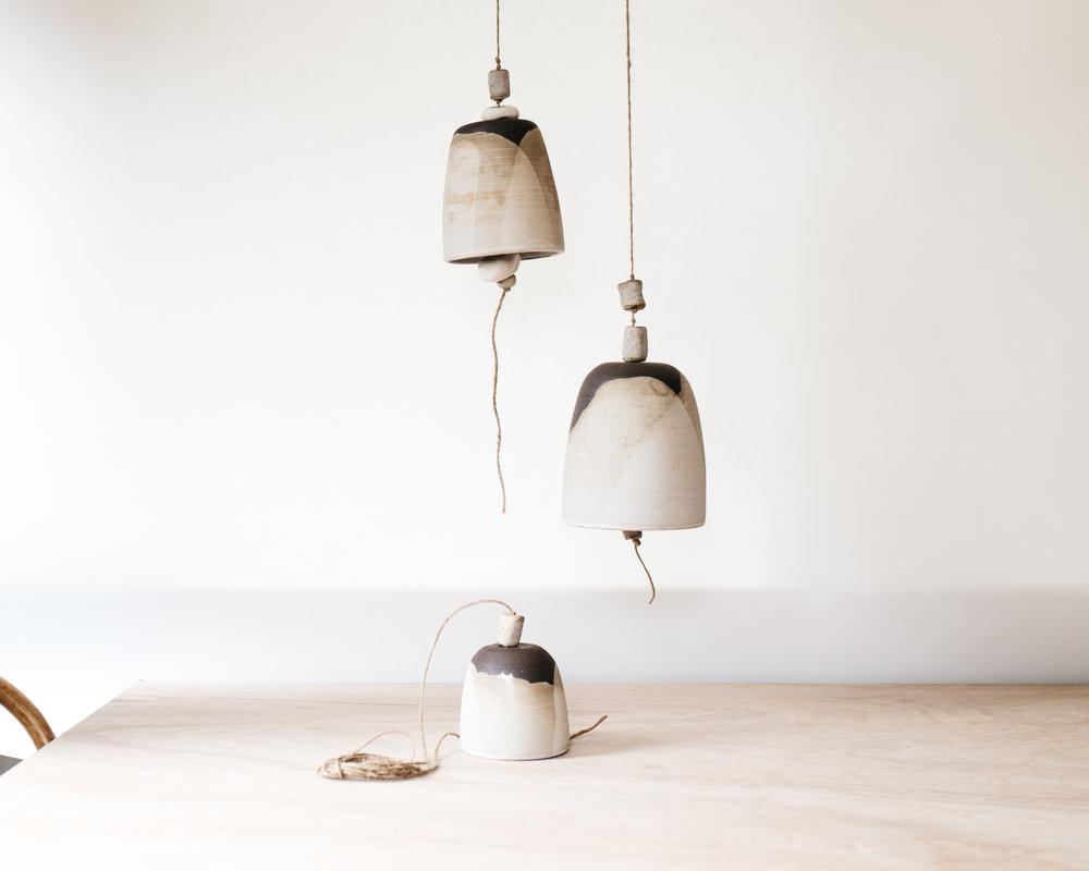 bells (sm, md, lg)- matte grey on brown clay