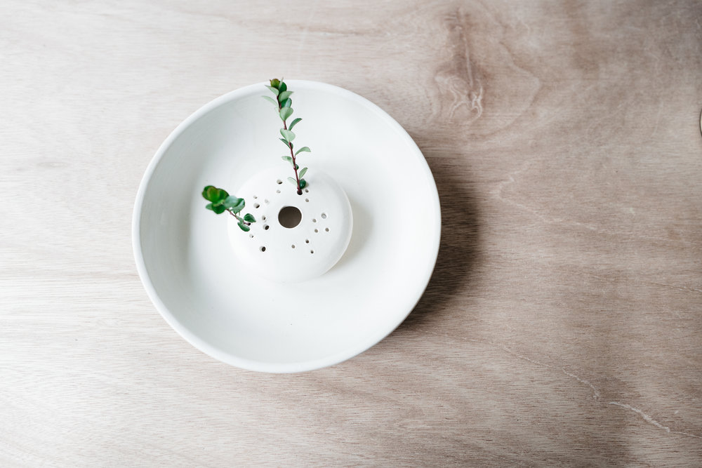 ikebana bowl w/attached frog- matte white on white clay