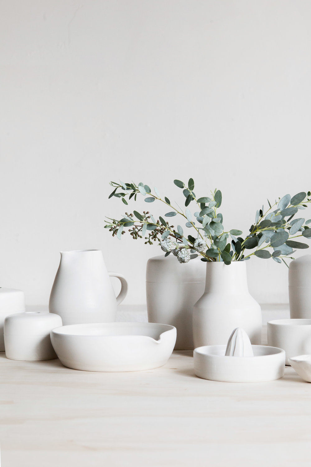 assorted matte white pieces