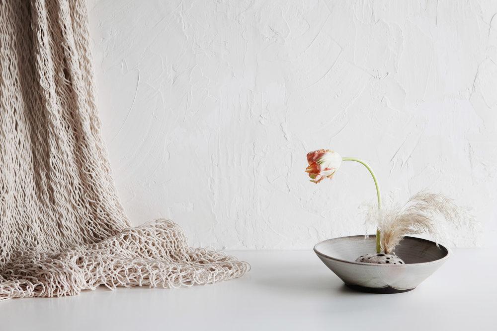 matte grey ikebana bowl