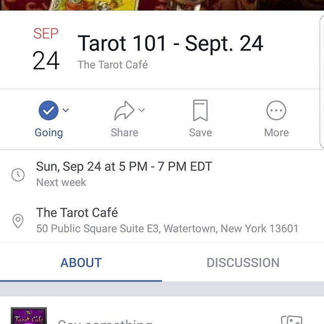 Tarot 101 workshop next Sunday, 5 to 7. Come learn the basics of tarot and gain a deeper understanding with your cards. $25 for the class. DM me for any questions. #thetarotcafe #tarot #cafe