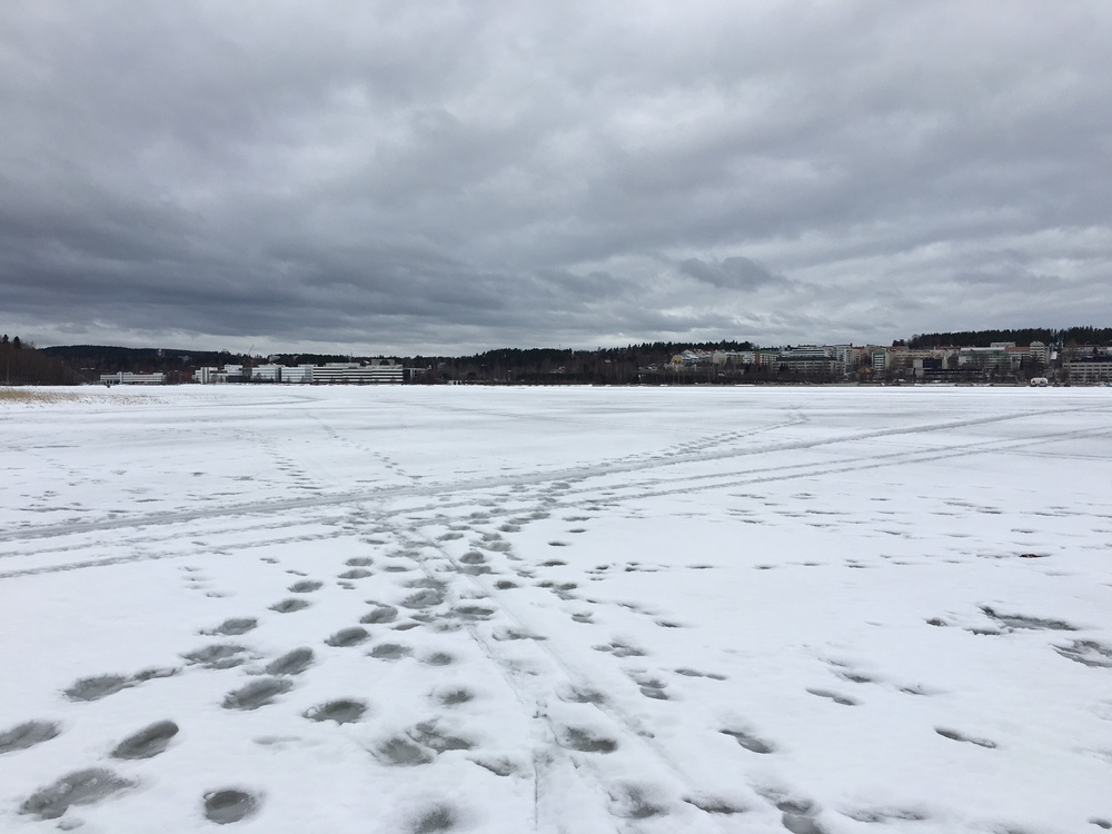 Footsteps across the frozen Lake Päijänne /   Jyväskylä / 17 Mar 2016 / Photo: Jenna Grimley