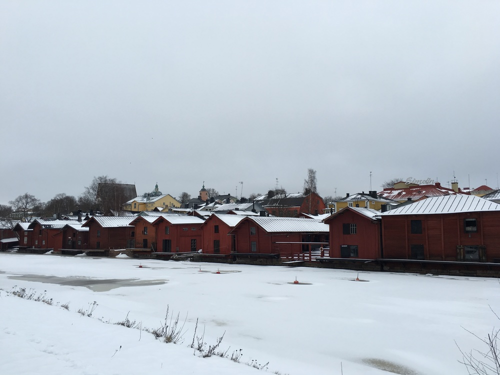 Red storehouses along the Porvoonjoki / Porvoo / 4 Feb 2016