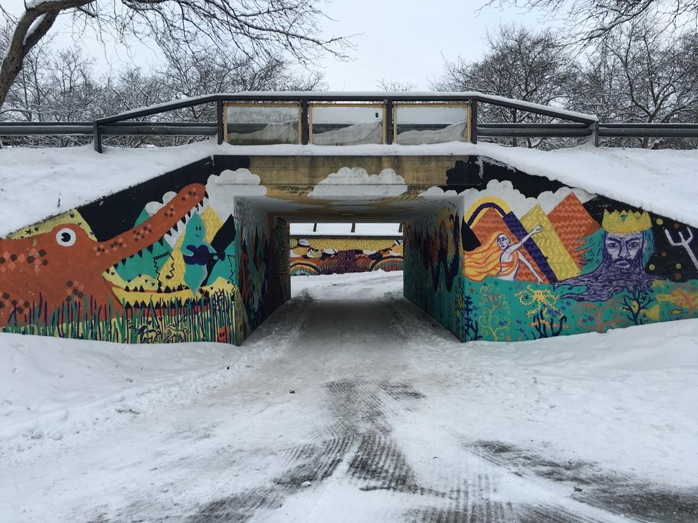 Mural work on an underpass near Martinlaakson lukio / Vantaa / 19 Jan 2016