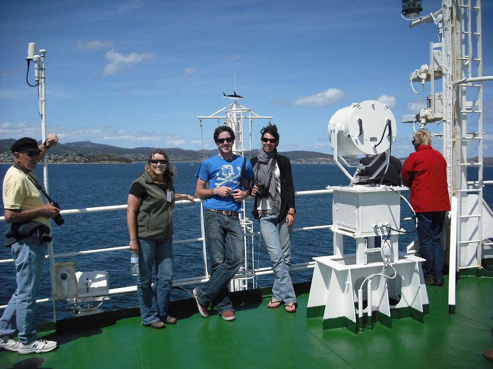 Josie van Dorst onboard the research vessel heading towards Antarctica.