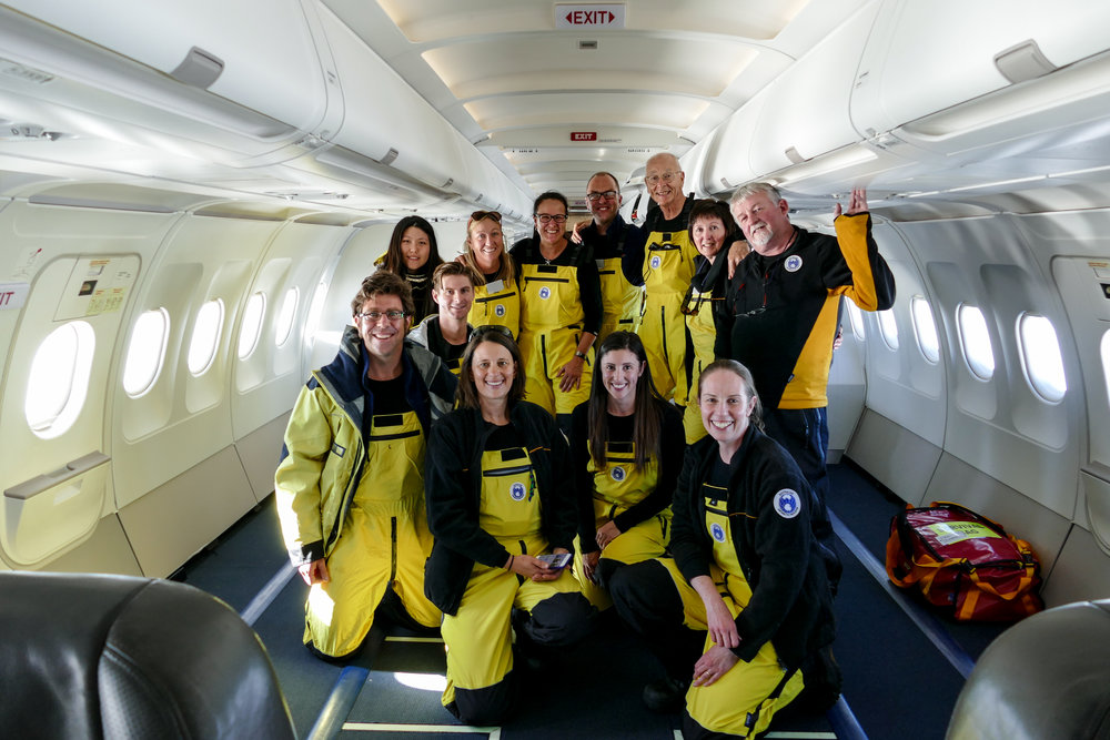 FA040S crew on the last flight down from Hobart to Casey Station, Eastern Antarctica.