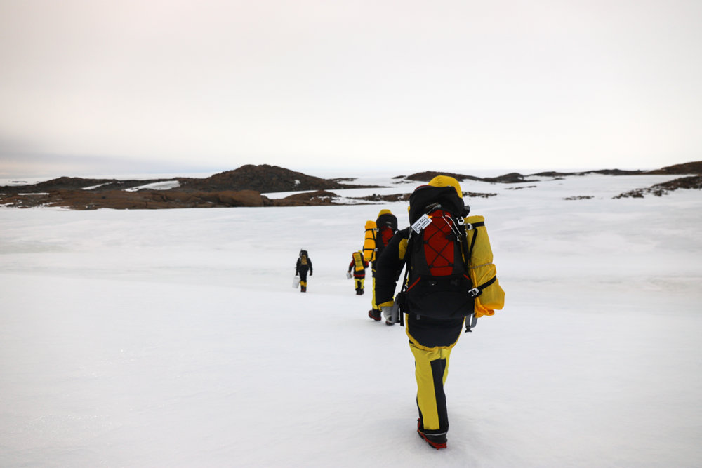 Traversing across the terrain, about 15min one-way to sample 7 distance points then back again.