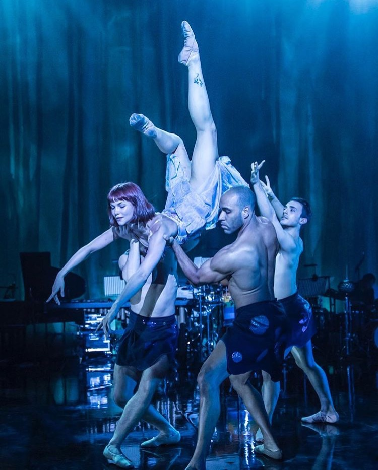 Rachel Louisa Maybank, Kauê Ribeiro, Liam Burke and Stefanos Dimoulas in Voices of the Amazon: Photo by Johan Persson