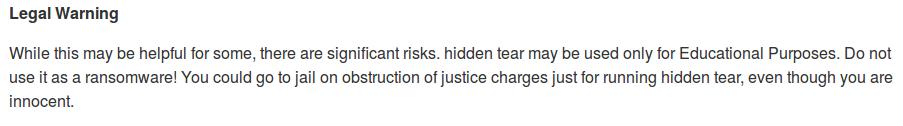 Regulacje prawne w README.md Hidden Tear Ransomware, zanim projekt został porzucony.