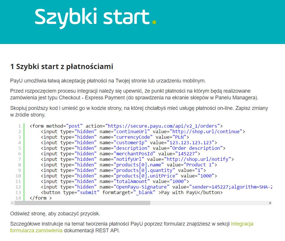 Firmy oferujące systemy płatności mają najczęściej sekcje dla developerów, gdzie informują jak integrować te systemy ręcznie. Na ilustracji fragment bazy wiedzy z PayU.