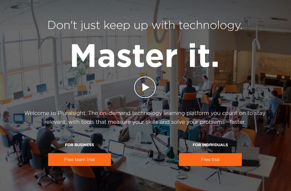 Popularny model biznesowy w platformach e-learningowych, czyli oferowanie innych cen dla użytkownika indywidualnego, i innych dla zespołów z firm, które biorą udział w tych samych kursach (zamiast szkoleń stacjonarnych). Na zrzucie serwis  Pluralsight.com .