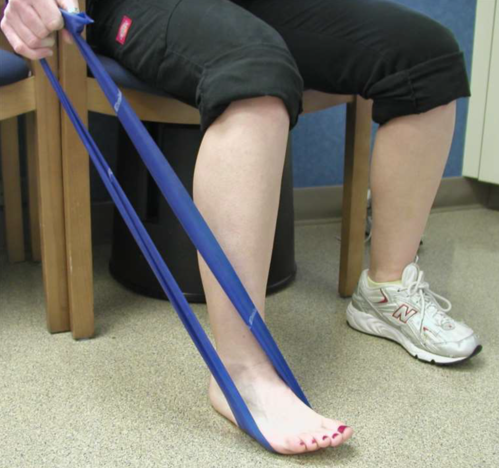 Instruct patient to plantarflex and adduct foot against theraband, slowly with control, and slowly back to starting position.
