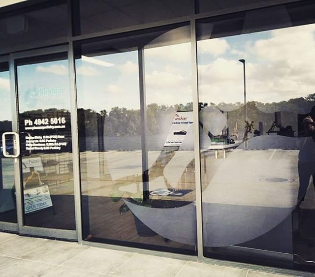Newly installed glass decals up in the clinic. If you like us, tell a friend! After all who *doesn't* like talking about feet? 🙂  Lovely afternoon view of the Mackay clinic!! 📸@chesticles13