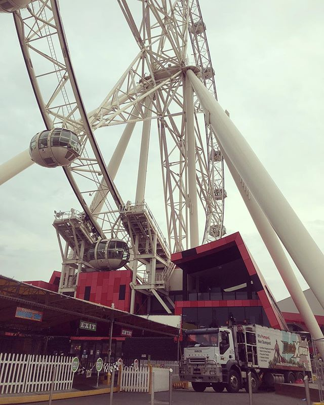 Working under the iconic @melbournestar for our mates at @sustainablelandscaping . . #melbourne #melbournestar #mulchxpress #landscapedesign #melbournelandscaping #melbournelandscaper #melbournelandscapes #landscapingmelbourne #melbournegardens #mulchblowing #mulchpumping #soilblowing #soilpumping #rockblowing #rockpumping #mulchblowers #barkblowing #soil #mulch