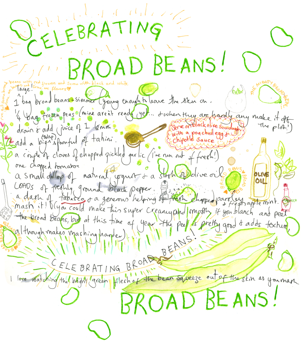 I've been making this delicious broad bean and pea 'humous' with my June glut of broad beans. It goes amazingly with freshly baked black olive sourdough and a poached egg... and maybe a dash (or few!) of chipotle... I think I could eat this every day and never get bored of the creamy deliciousness! I'm happy my red flowering broad beans are still flowers and there's more to come :)