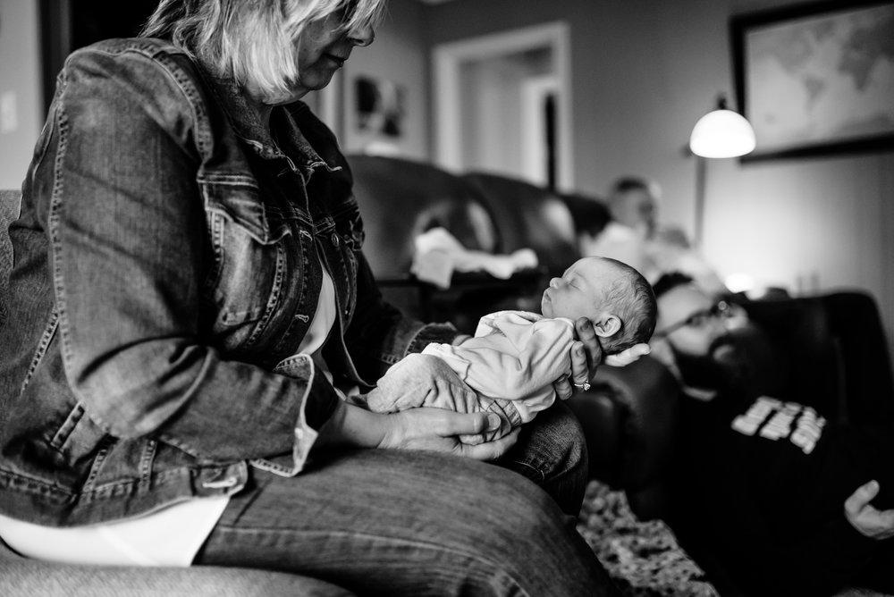 Grandma holds baby