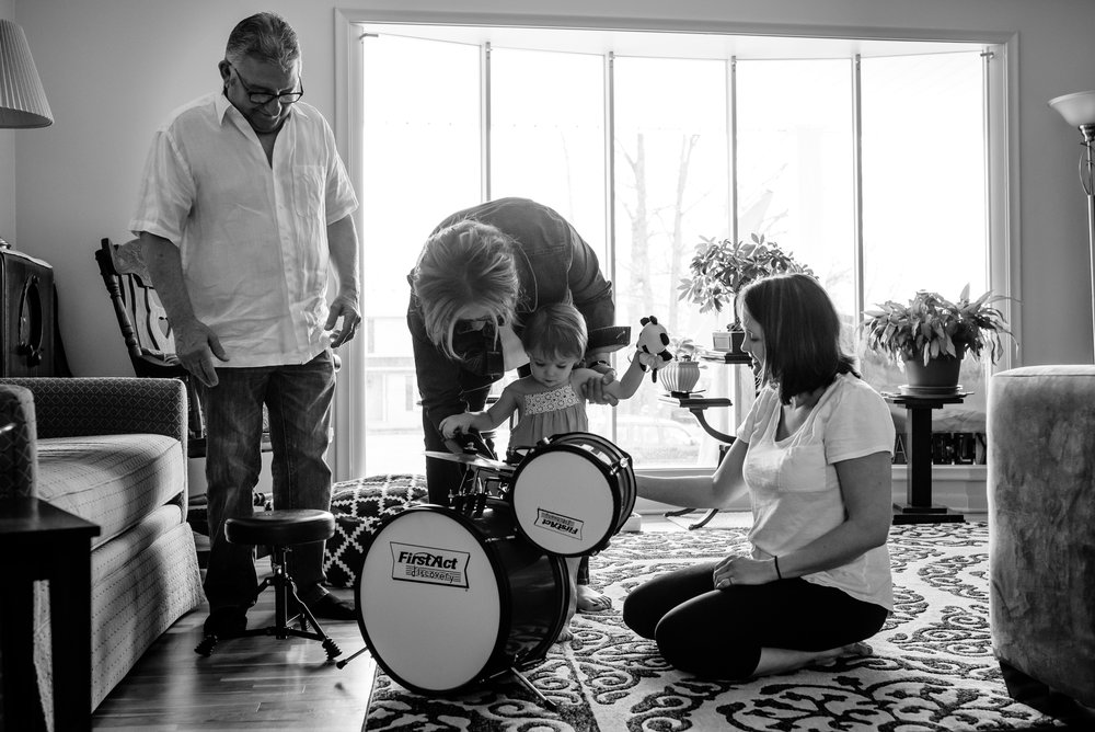 Grandparents and Mom play drums