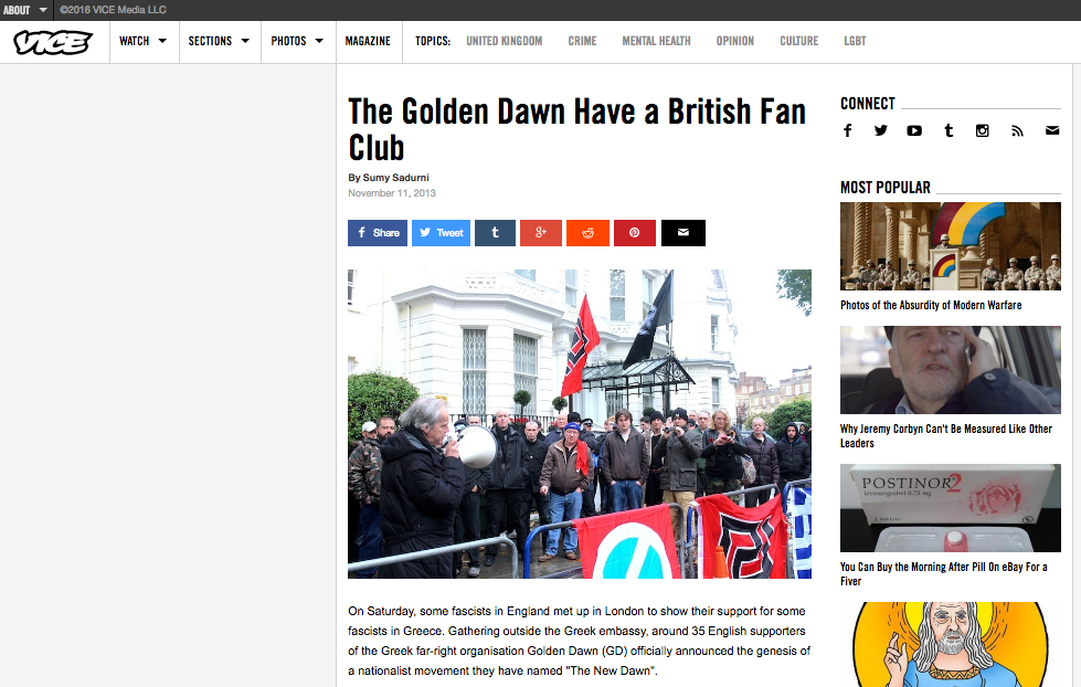 The Golden Dawn have a British fan club // VICE 2013