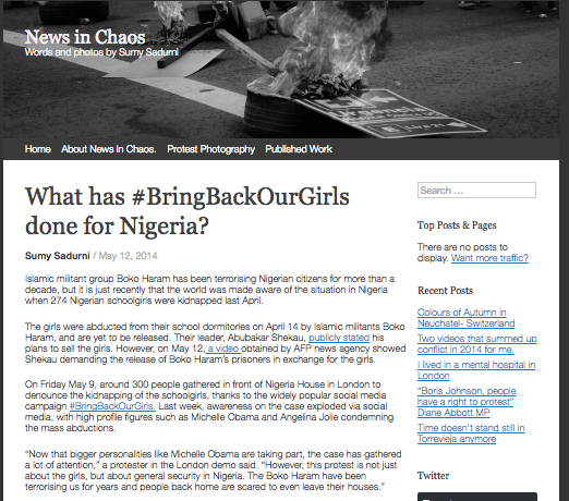 What has #BringbackourGirls done for Nigeria? // NewsinChaos 2014