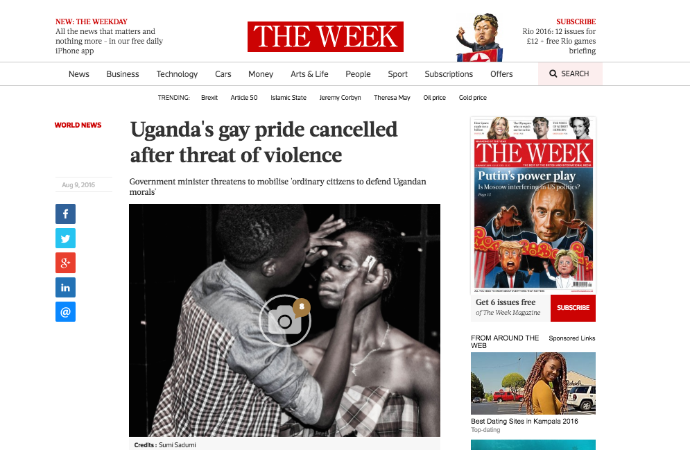 Uganda's gay pride cancelled after threat of violence // The Week 08/2016