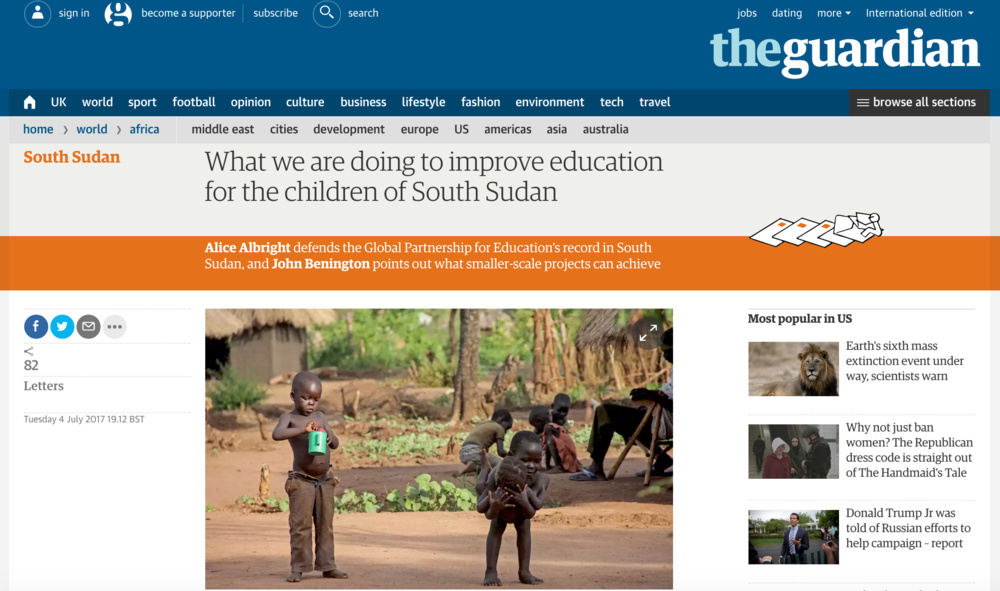 What we are doing to improve education for the children of South Sudan // The Guardian 07.2017