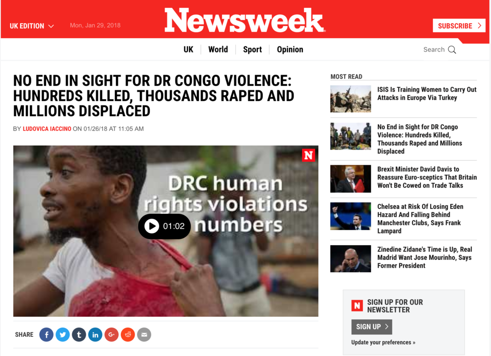 No end in sight for DR Congo violence// Newsweek 01.2018