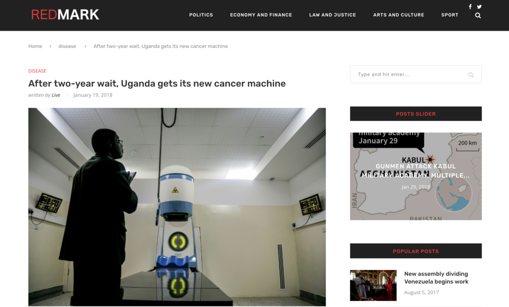 After two year wait Uganda gets its new cancer machine // Red Mark 01.2018