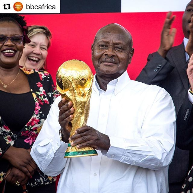 Yesterday's adventures . . #Repost @bbcafrica with @repostapp ・・・ The President of #Uganda, Yoweri Museveni, holds the FIFA World Cup Trophy at the State House in Entebbe.  The trophy is being presented in 51 countries around the world, including 10 in Africa.  From Uganda, the trophy is travelling to Nigeria, Senegal, Ivory Coast and Egypt.  Photo: Sumy Sadurni/AFP/Getty Images  #football #trophytour #FIFA #WorldCup @FIFAWorldCup #uganda #eastafrica #africa