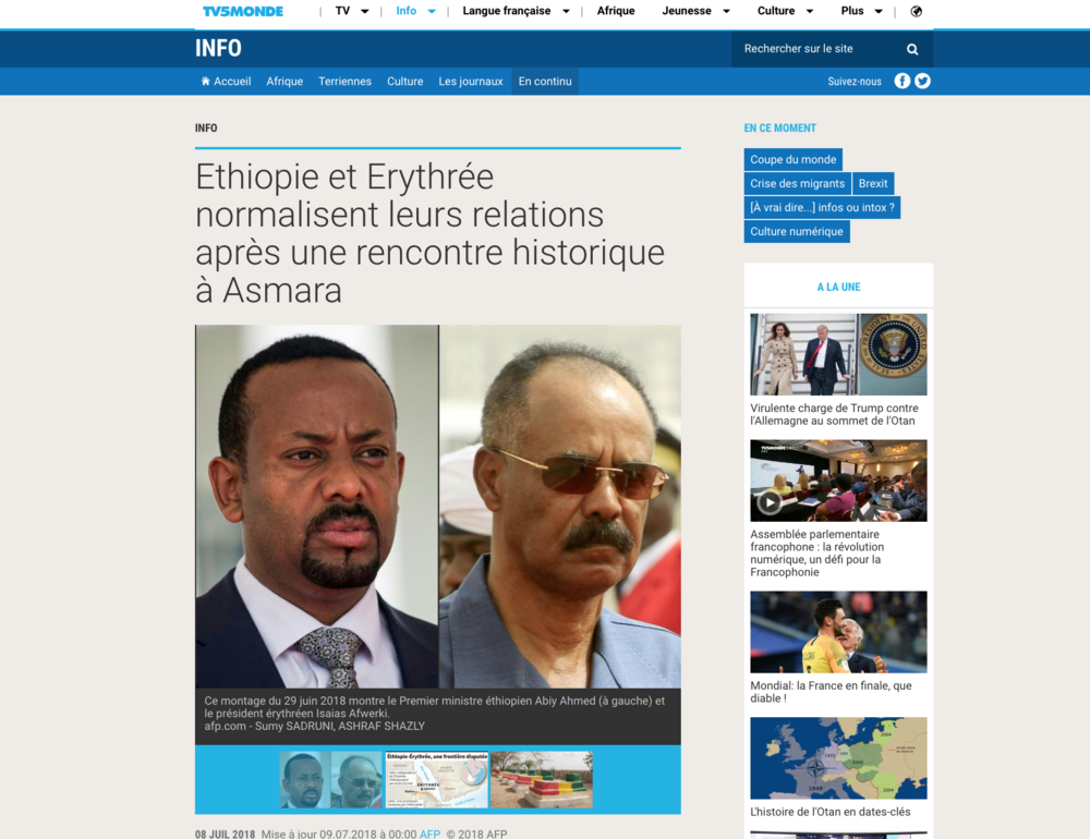 Ethiopia and Eritrea normalise their relations//TV5 Monde // 06. 2018