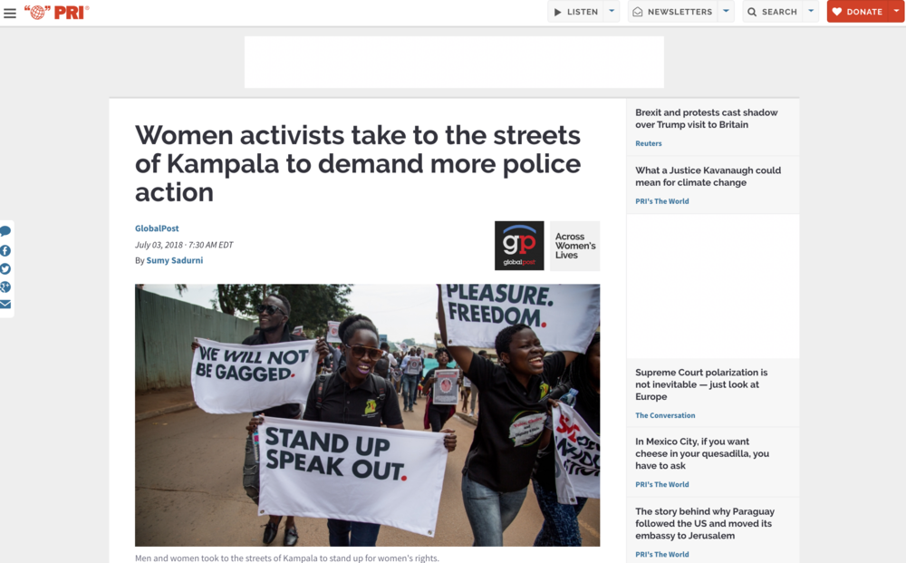 Women activists take to the streets of Kampala to demand more police action // Public Radio International // 06.2018