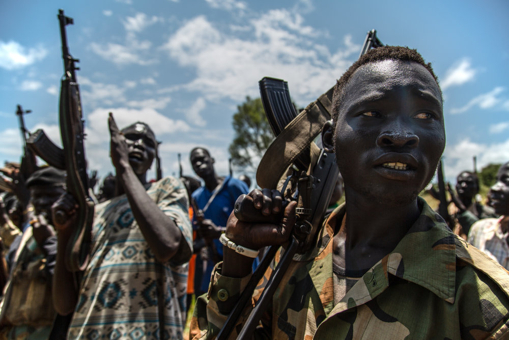 South Sudanese rebel troops from the SPLA-IO prepare to be deployed to the frontline, September 2018.
