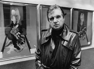 Francis Bacon standing in front of his Triptych