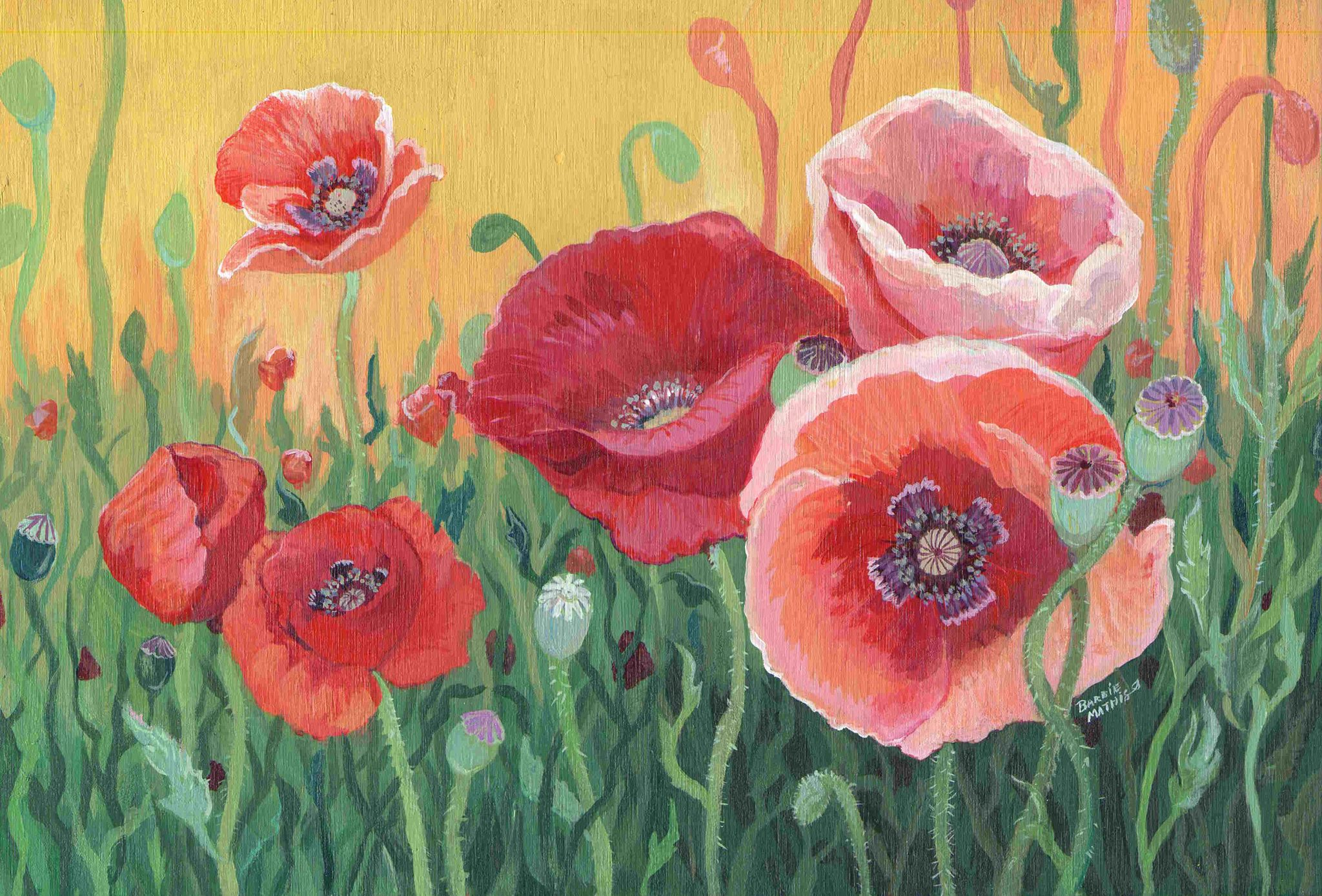 """Poppies"" - Acrylic on wood panel - artwork up for auction from Barbie Smith Mathis"