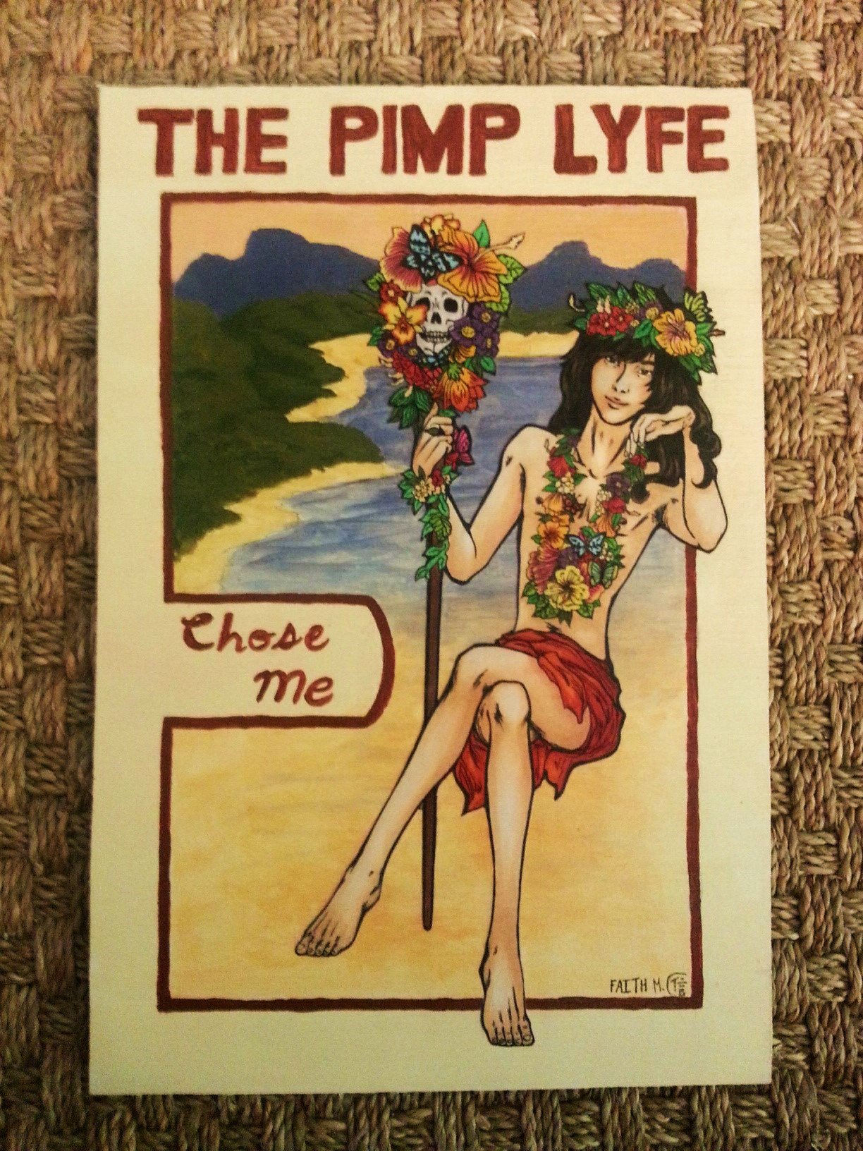 """Pimp Lyfe"" -  mixed media on wood panel - artwork up for auction from Faith Mathis"