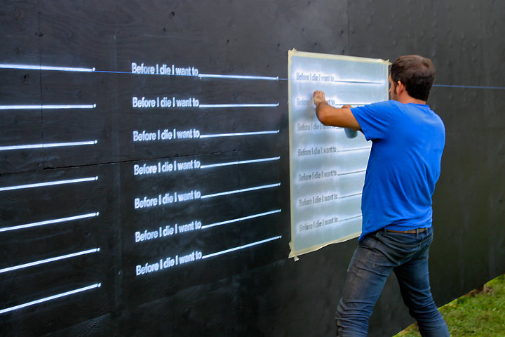 """Before I die"" stencil photo courtesy of http://beforeidie.cc/"