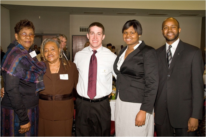 Members of the Ward One Organization.  On the left, President Mattie Anderson-Roberson beside Ms. Agnes Perez.  On the far right, Dr. Bobby J. Donaldson